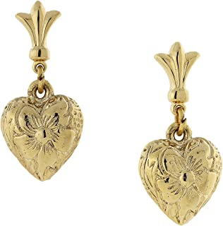 product image for 1928 Jewelry 14K Gold Dipped Textured Post Heart Drop Earrings
