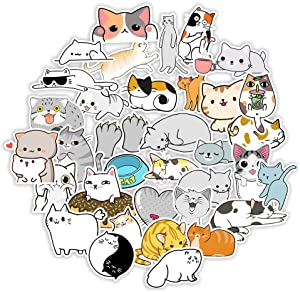 50 PCS Cute Cat Laptop Stickers for Decoration, Waterproof Kawaii Stickers for Kids, Girls, Vinyl Decals Animal Stickers for Water Bottles, Skateboard, Luggage, Album, Scrapbook