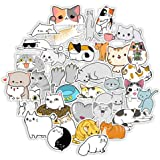 50 PCS Cute Cat Laptop Stickers for Decoration, Waterproof Kawaii Stickers for Kids, Girls, Vinyl Decals Animal Stickers for