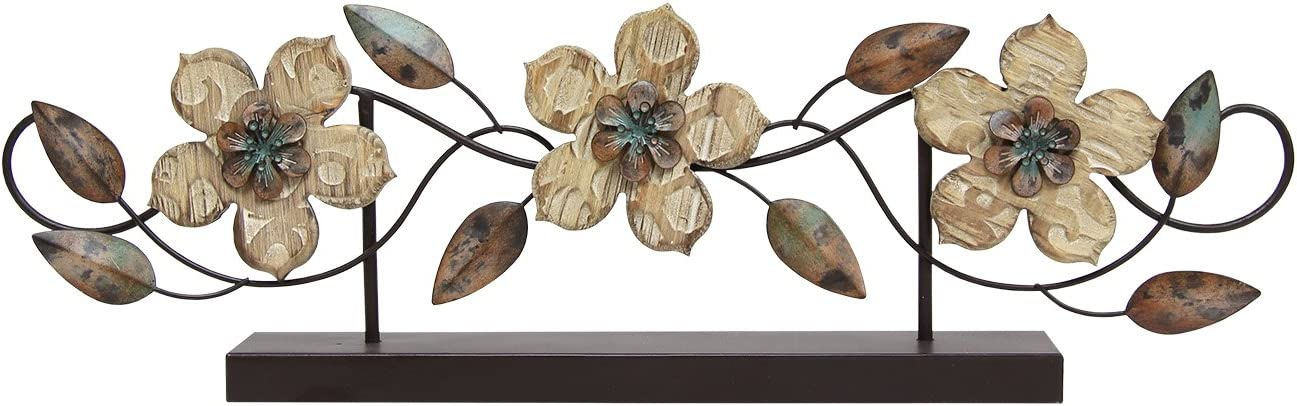 Stratton Home Decor S07669 Stamp Wood Flower Table Top, 20.00 W x 1.97 D x 6.10 H, Multi