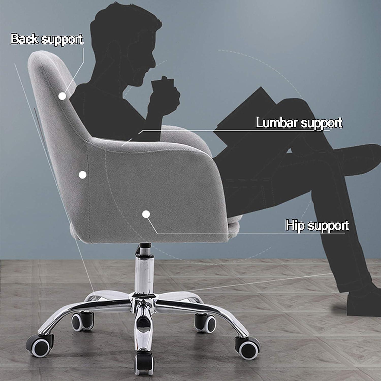 Mitten av ryggen 360° vridbar skrivbordsstol, linnekudde och bekvämt ryggstöd, modern fritidsarmstol datoruppgift stol gUL