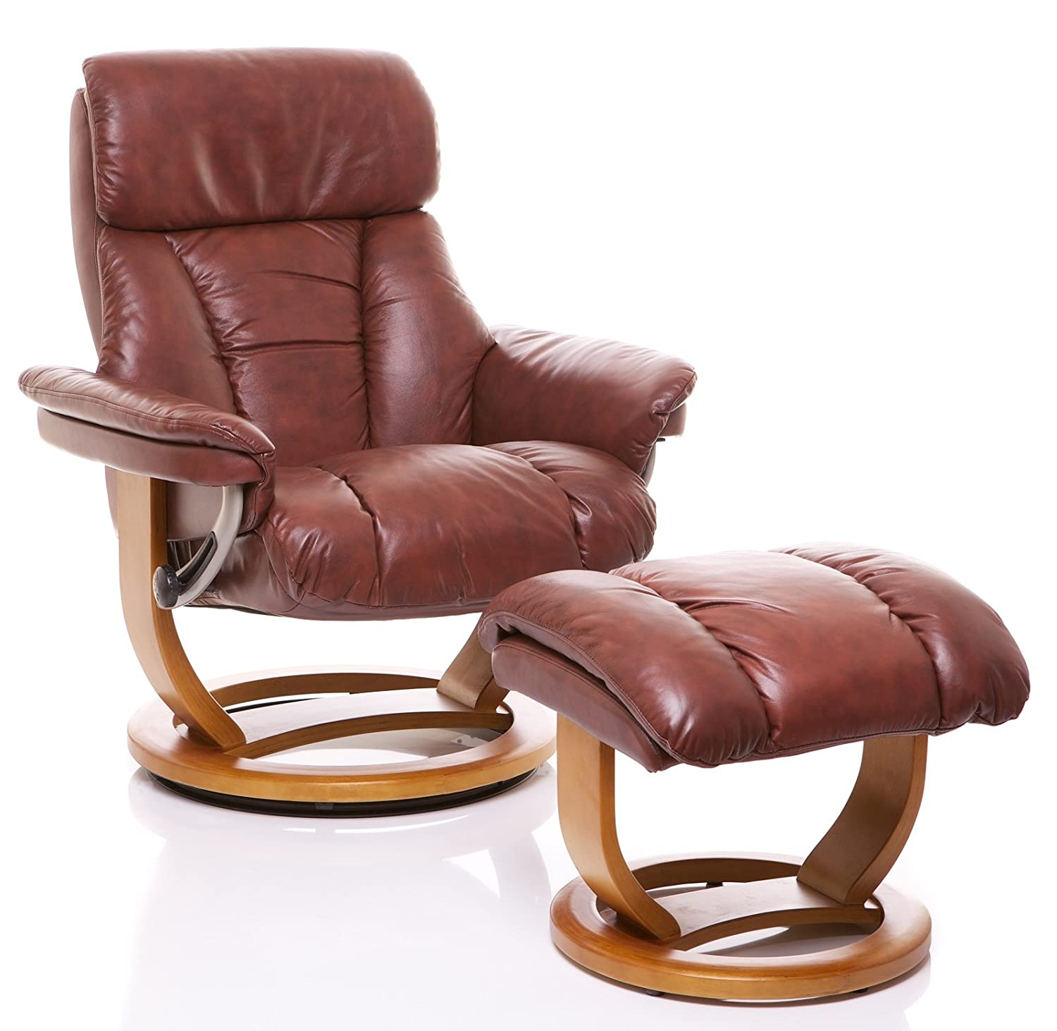 The Mars - Genuine Leather Recliner Swivel Chair u0026 Matching Footstool in Chestnut Amazon.co.uk Kitchen u0026 Home  sc 1 st  Amazon UK & The Mars - Genuine Leather Recliner Swivel Chair u0026 Matching ... islam-shia.org