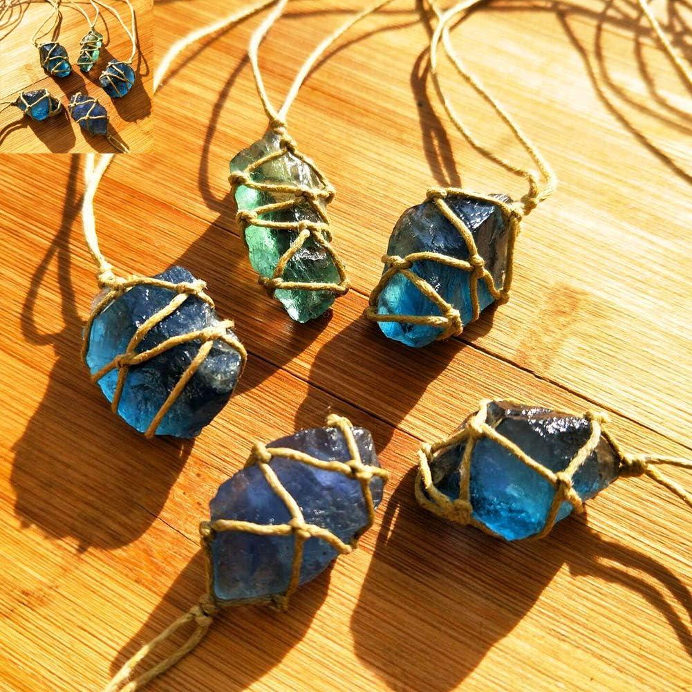 animes Natural Cuarzo Cristal Piedra Azul-Verde Fluorite Tratamiento Piedra Fluorite Ornament Fluorite Colgante con Cuerda Trenzada Tejida a Mano en Color Aleatorio