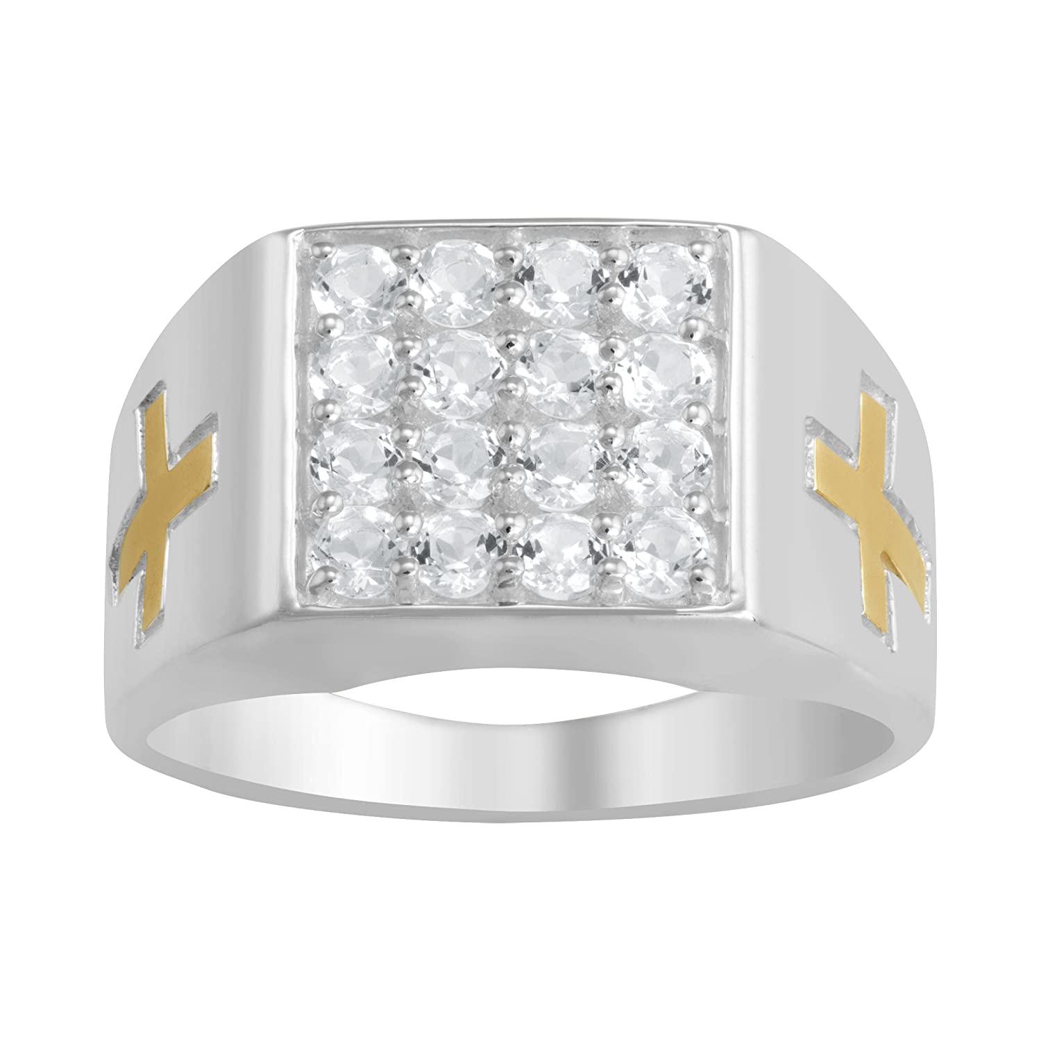 ArtCarved Our Lord White Genuine Topaz Christian Men's Ring, Sterling Silver
