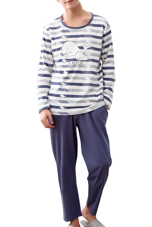 Big Boys Cute Loose Long Sleeve Cotton Pajamas Loungewear Set(10y-18y)