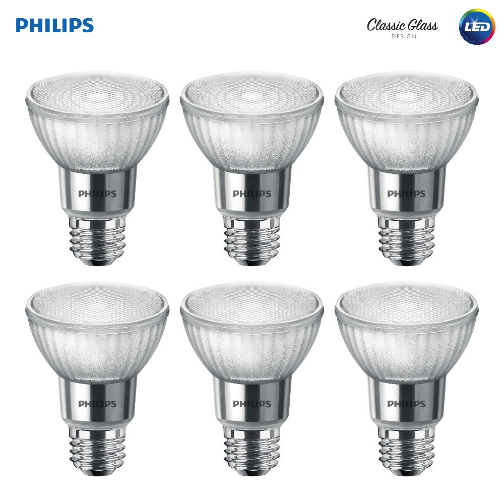 Philips LED 471144 50 Watt Equivalent Classic Glass PAR20 Dimmable LED Flood Light Bulb (6 Pack) Bright White 6 Piece