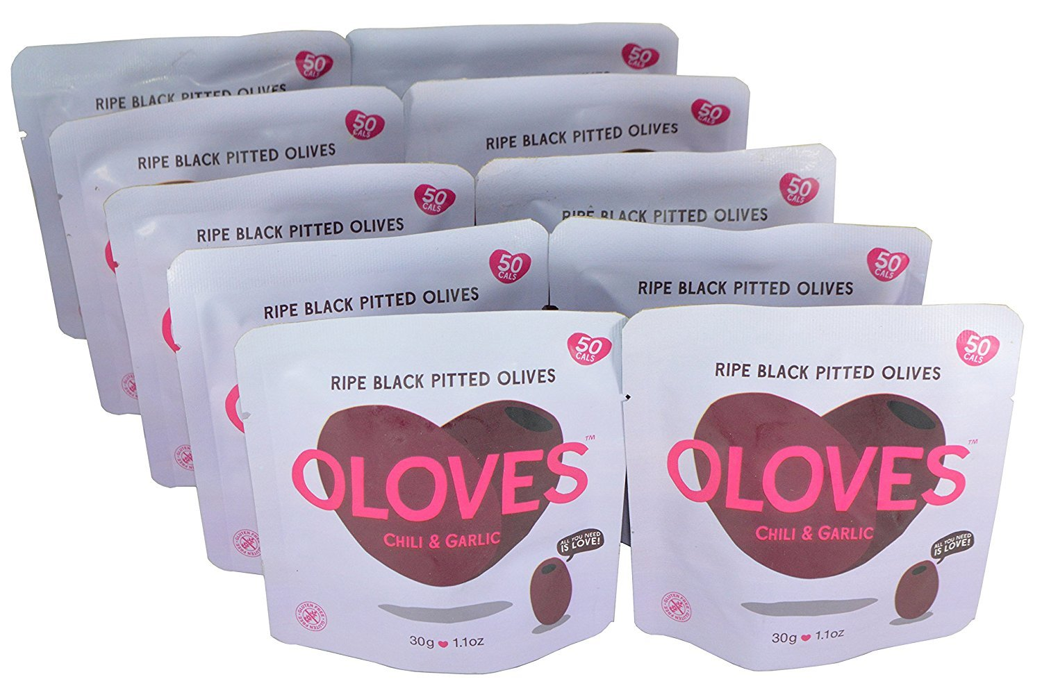Oloves Chili & Garlic Snack Olives (Pack of 10) by Oloves