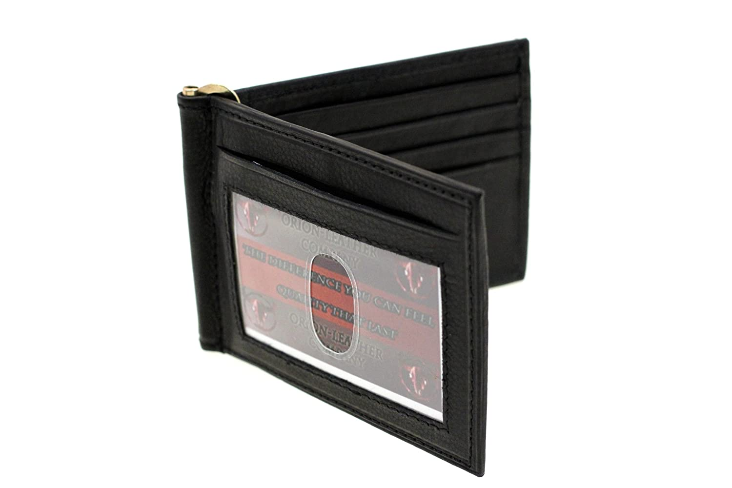 Paul /& Taylor Mens Genuine Leather Front Pocket Money Clip With ID Slot Black