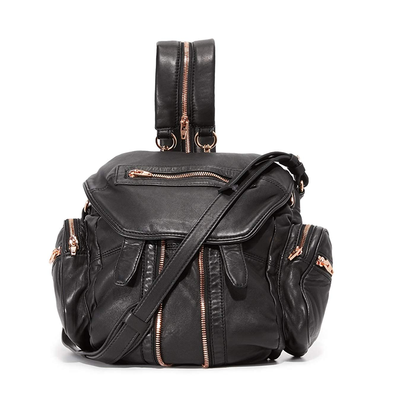 MINI MARTI BACKPACK IN WASHED BLACK WITH ROSE GOLD 3 WAY (SMALL) [並行輸入品] B07H67GG22