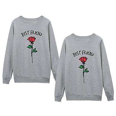 6d3c0ab9ff64c5 JWBBU Friends Pullover für Zwei Damen Sister Hoodie 2 Mädchen BFF Partner  Look Rosenpullover Damen Freunde