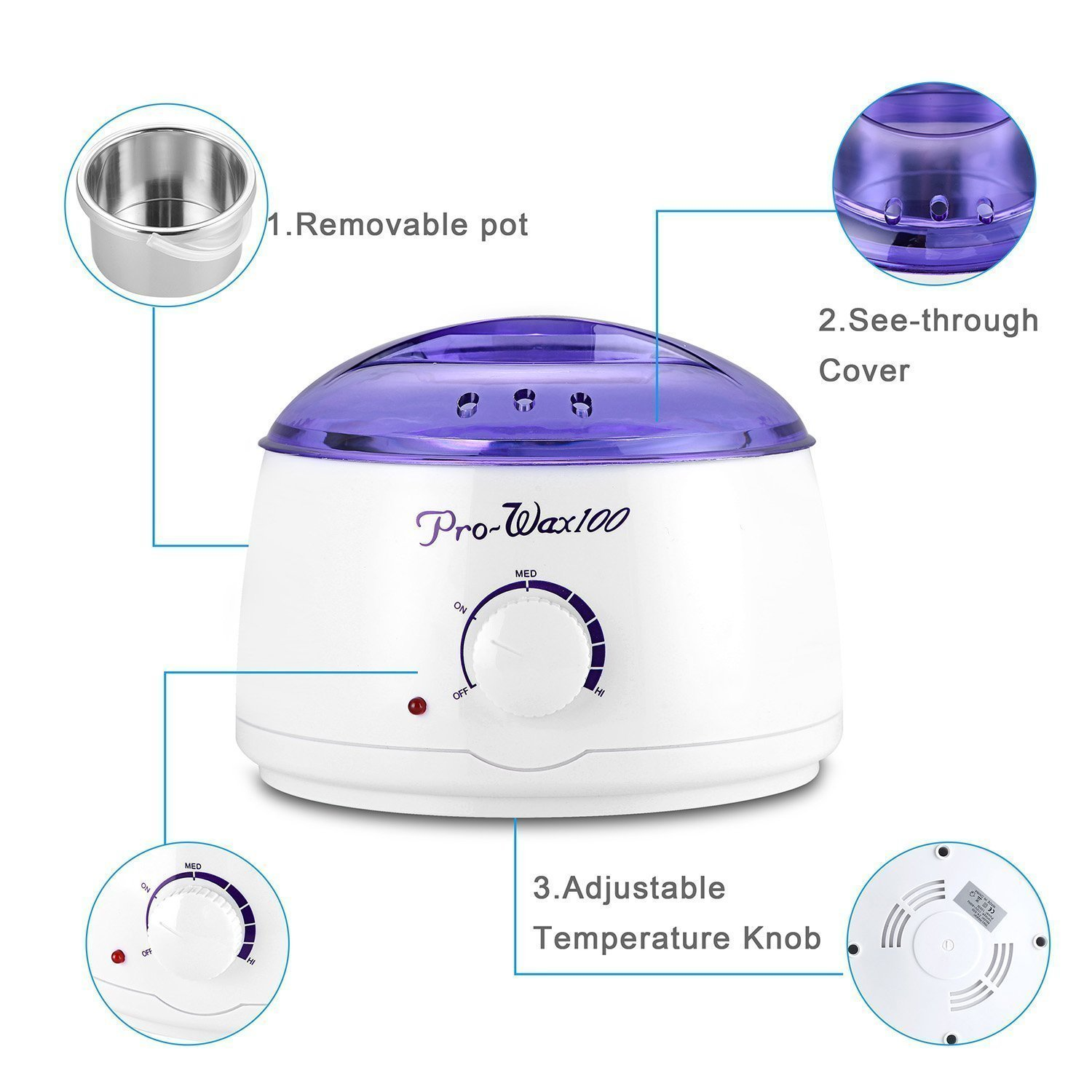 Electric Wax Warmer, Hot Hard Wax Beans Pearl Wax Warmer Heater Melter Waxing Pot for Hair Removal - Home Waxing Machine Kit for Women