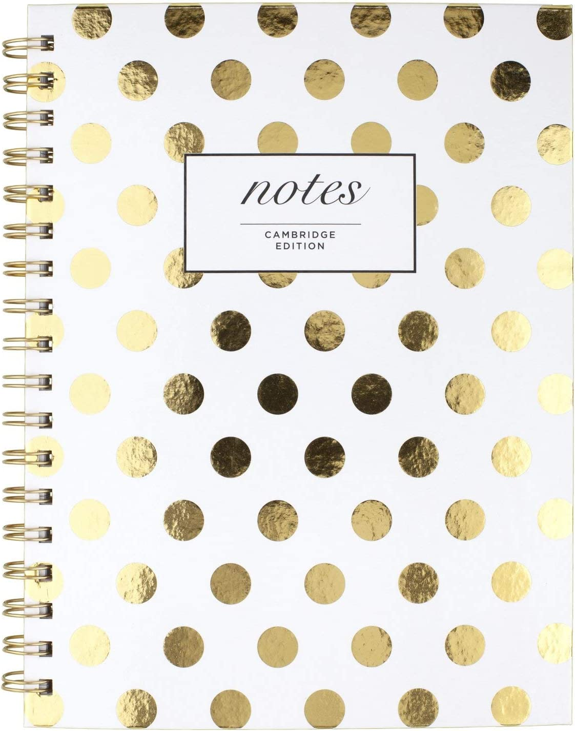 "Cambridge Business Notebook, Hardcover, 80 Sheets, 9-1/2 x 7"", Fashion, Gold Dot (59016)"