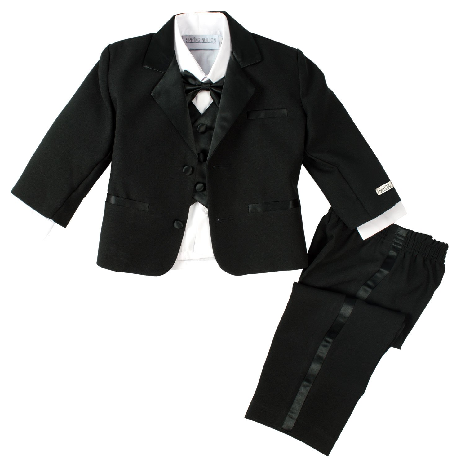 Spring Notion Baby Boys' Black Classic Fit Tuxedo Set, No Tail 12M (Medium) by Spring Notion