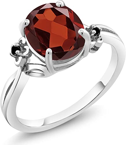 WONDERFUL 2.5 CT OVAL GARNET RED 925 STERLING SILVER RING SIZE 5-10