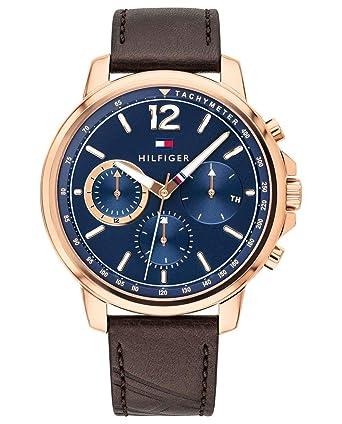 Tommy Hilfiger Reloj Multiesfera para Hombre de Cuarzo con Correa en Cuero 1791532: Amazon.es: Relojes