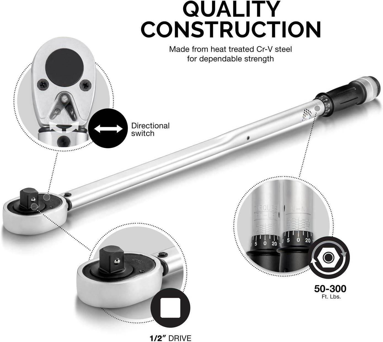 50 to 300-Feet-Pound Torque Range Chrome Vanadium Ridgerock Tools Inc. Neiko 03711B 3//4-Inch Drive Adjustable Torque Wrench