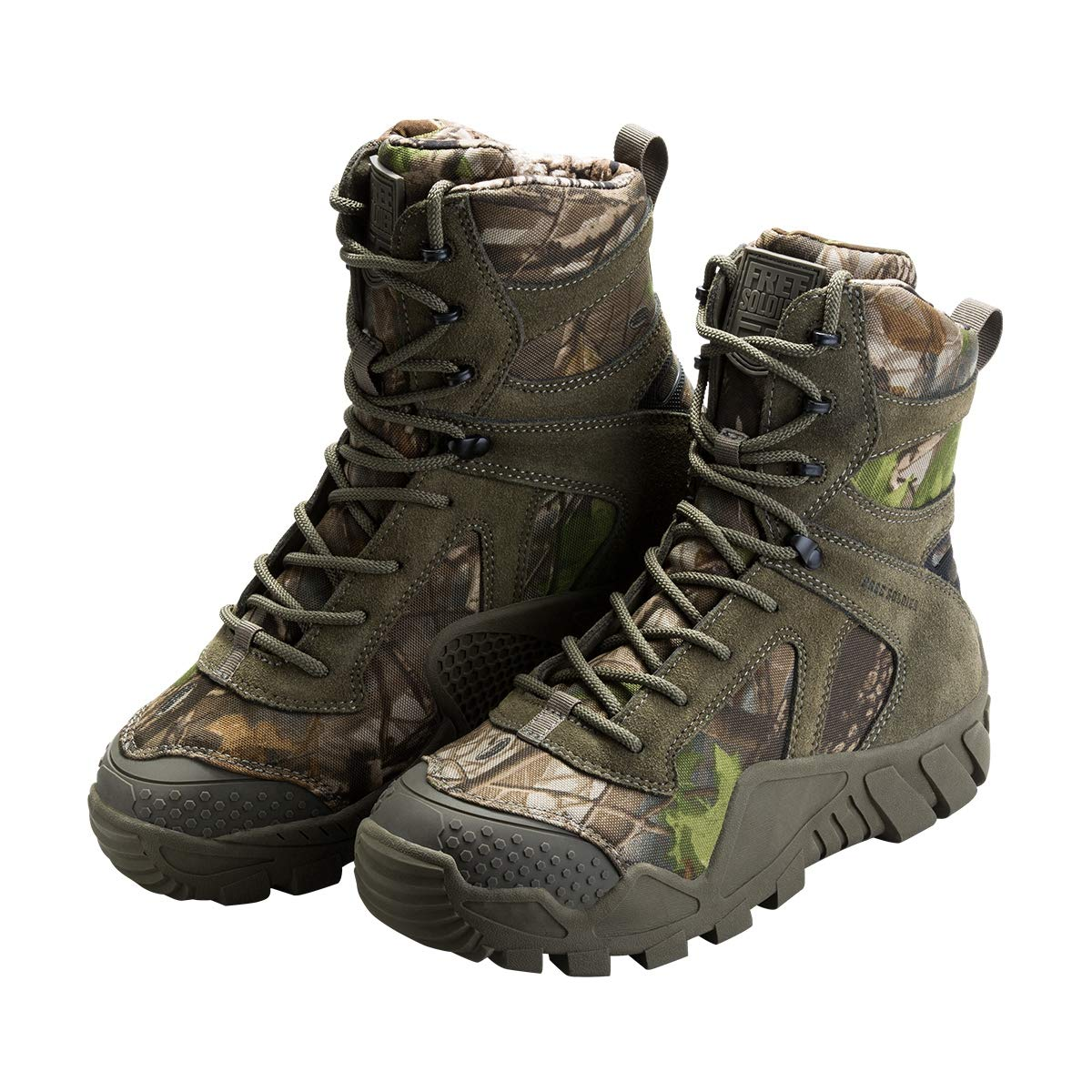 FREE SOLDIER Men's Tactical Boot All Terrain Suede Leather Shoes Outdoor Hiking Military Boots (Camouflage, 10 M US)