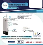 itek 15000 mAh Power Bank with 3 USB Outputs - 2.1A/1A/1A - BIS Approved