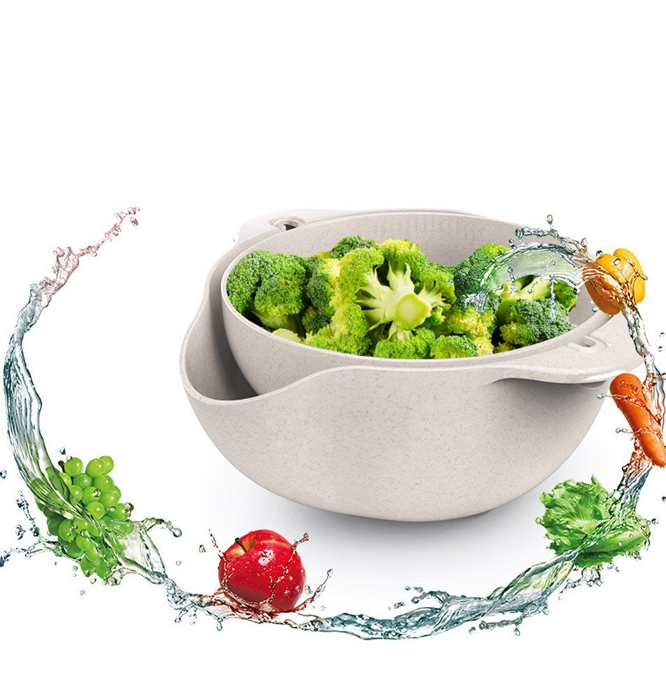 Amazon.com: 2-in-1 kitchen Strainer Colander & Bowl Sets,Multi function Mixing Bowl for Fruits Vegetable Cleaning Washing Mixing,Extra Fine Swivel 180 ...