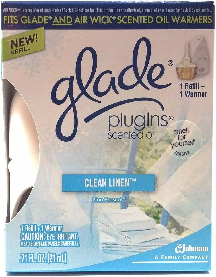 Glade Plugins Scented Oil Clean Linen 1 Refill and 1 Warmer Fits Air Wick Scented Oil Warmers Too .71 Oz. Smells Like Fresh Laundry Fragrance (1 Each)