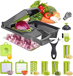 Sanstar Vegetable Onion Chopper Food Slicer -12 in 1 multu-Function Cheese Grater Durable Fruit Chopper Vegetable Cutter Dicer Ricer, Household Kitchen Cutter Quick Cut for Onion, Potato Salad Carrot