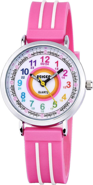 Relojes deportivo para ninos Zeiger Reloj deportivo Relojes de pulsera de cuarzo analogicos para ninos Multicolors Transparente impermeable de 3 ATM Reloj niña chica infantil