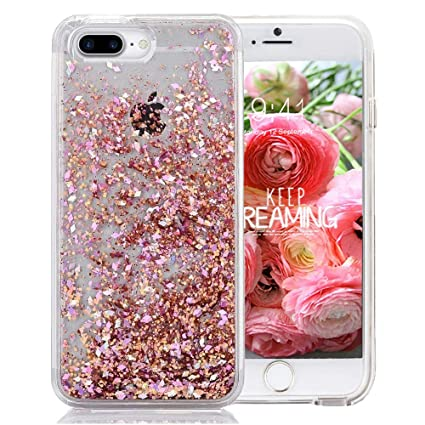 iPhone 7 Plus Glitter Case, NOKEA Hard Rubber Flowing Liquid Floating  Luxury Bling Glitter Sparkle Flexible Protective Shell Bumper Case Cover  for