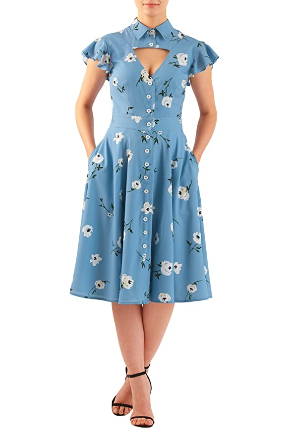 Plus Size Retro Dresses eShakti Womens Floral print crepe cut-out front shirtdress $65.95 AT vintagedancer.com