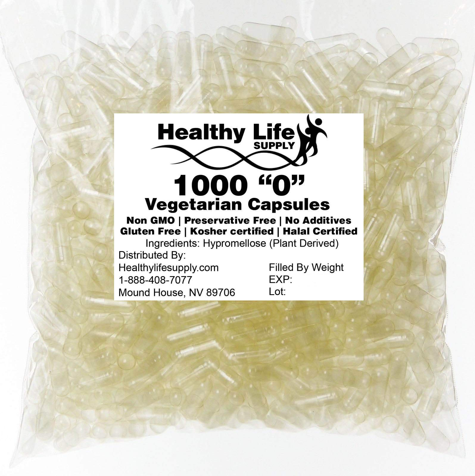 "Empty Vegetarian Capsules - 1000 Size""0"" Bulk Wholesale"