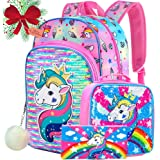 """Unicorn Backpack, 16"""" Sequin Backpacks and Lunch Box for Girls"""