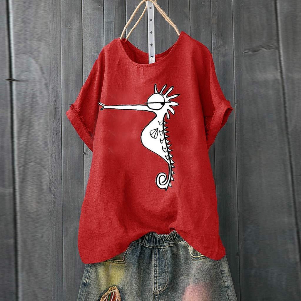 COZOCO Camiseta De Manga Corta con Estampado De Cuello Redondo De Lino De Algod/ón con Estampado De Hipocampo para Mujer Top Top