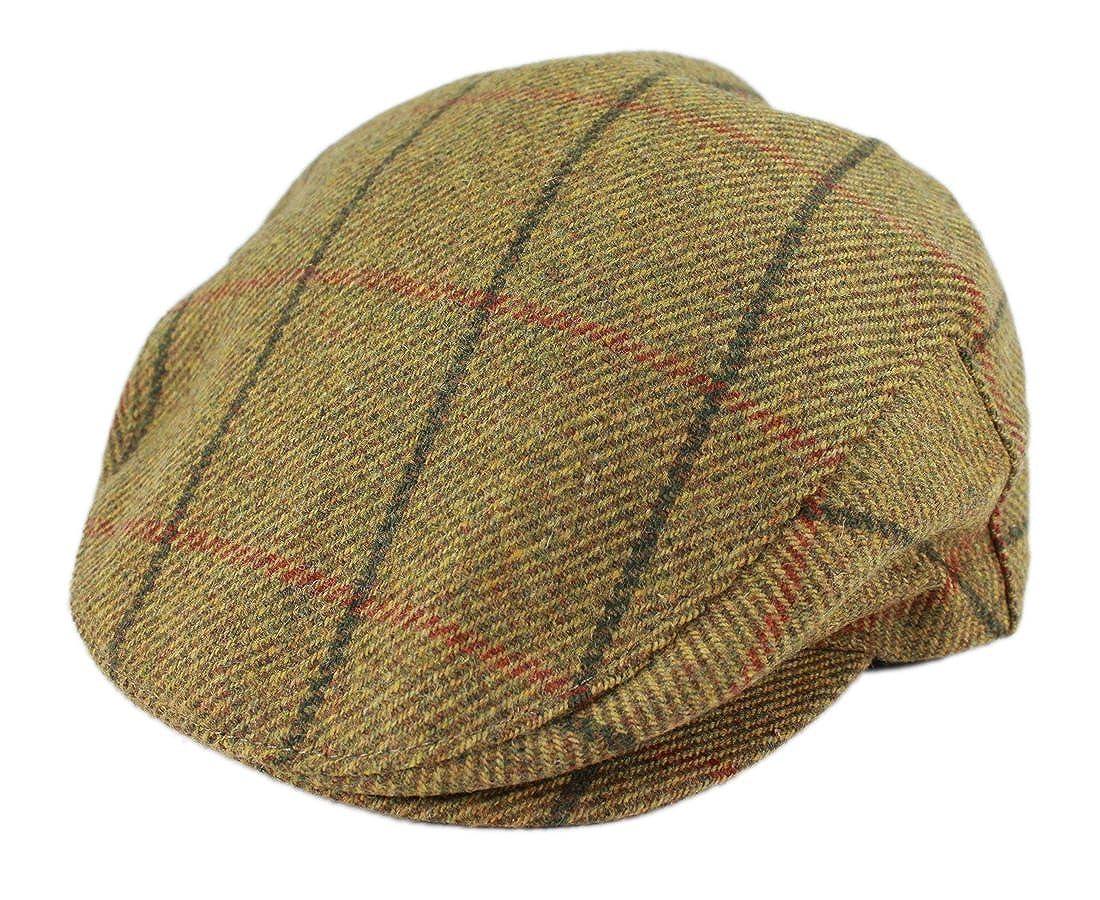 6b2d716fab84d John Hanly   Co. Irish Tweed Flat Cap - Mustard Plaid - Made in Ireland   Amazon.co.uk  Clothing