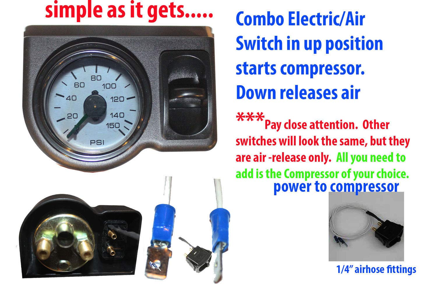 Air Ride Suspension Single Needle Air Gauge Panel 200psi 1 Paddle Switch Control Unbranded AI-AM-GA2-PANEL-1SWITCH48