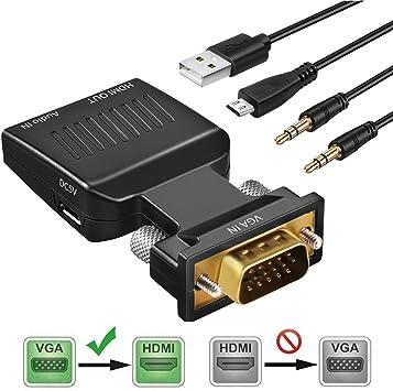 KEZAY Adaptador VGA a HDMI con Audio, Convertidor 1080P VGA a HDMI ...