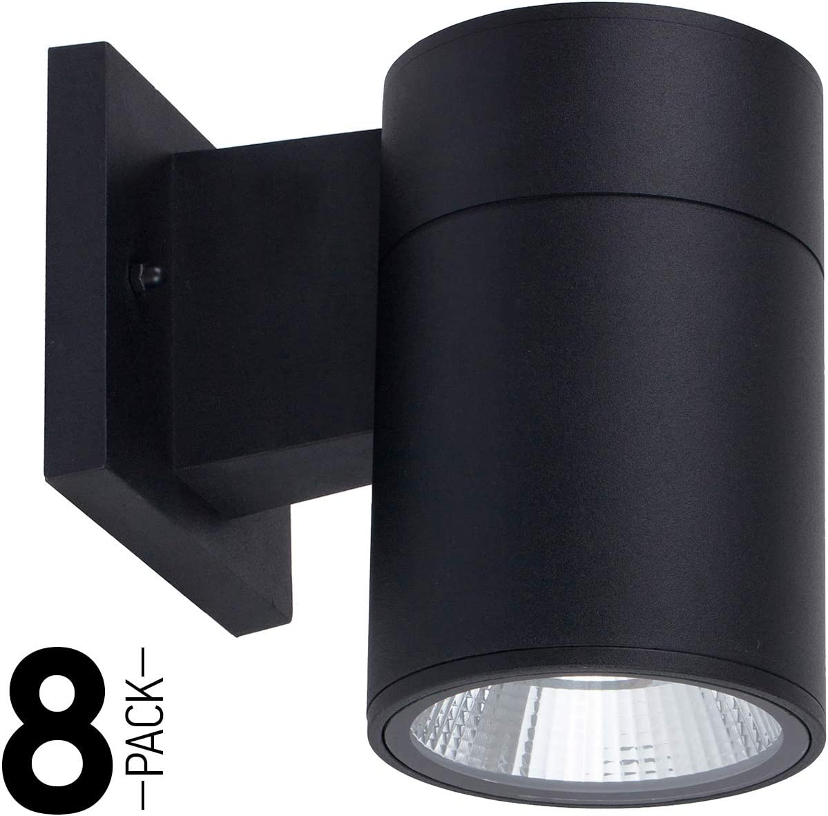 OSTWIN 8 Pack 1-Direction LED Outdoor Cylinder Up or Down Light, 9W 60W Equivalent , 735 Lumen, 5000K Daylight, Modern Light Fixture for Door Way, Corridor, Waterproof, Black, ETL and Energy Star