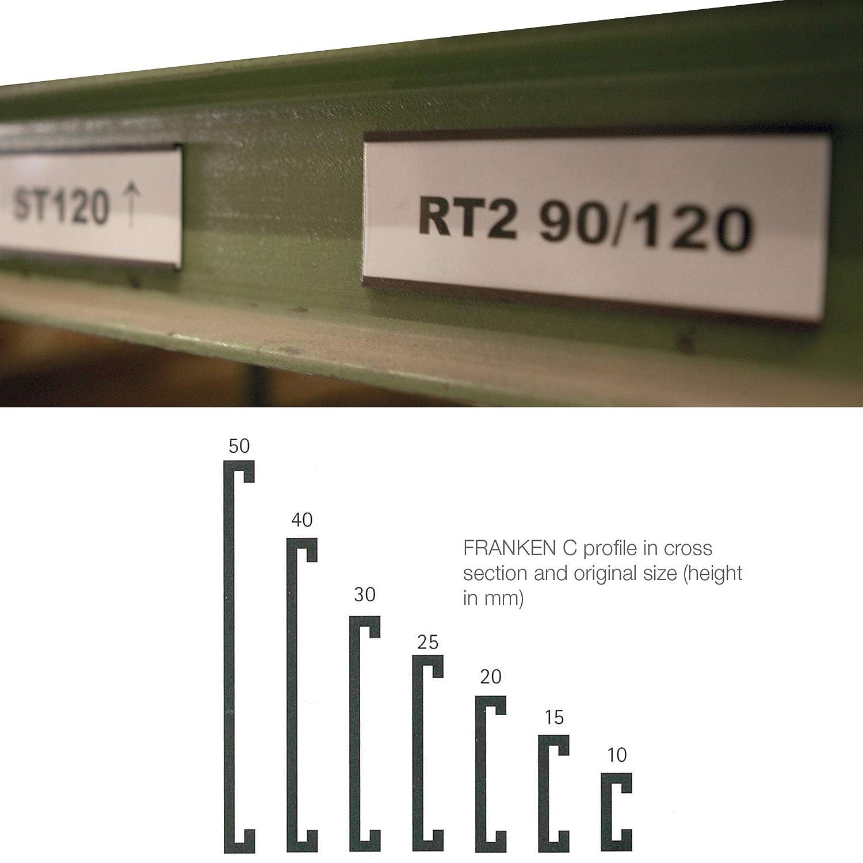 60 x 15 mm FRANKEN Magnetschild C-Profil Beschilderung