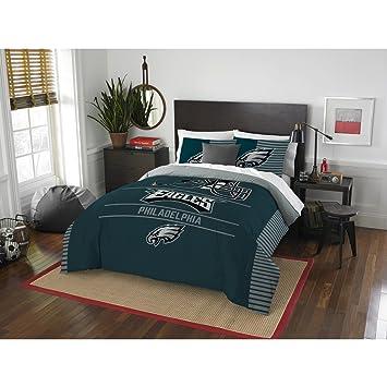 Philadelphia Eagles Comforter Set Bedding Shams NFL 3 Piece Full Queen Size  1 Comforter 2