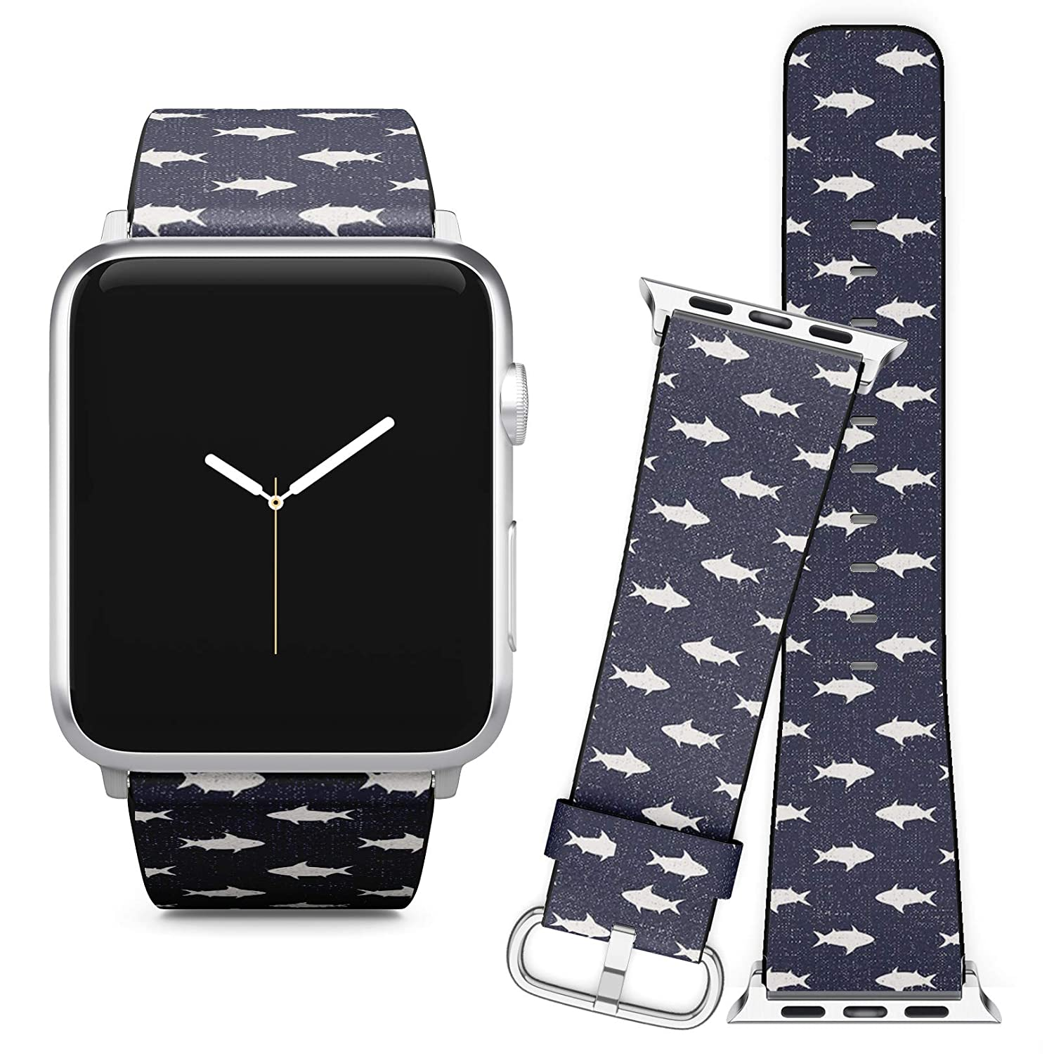 Compatible with Apple Watch (38/40 mm) // Soft Leather Replacement Bracelet Strap Wristband + Adapters // Sharks Nautical