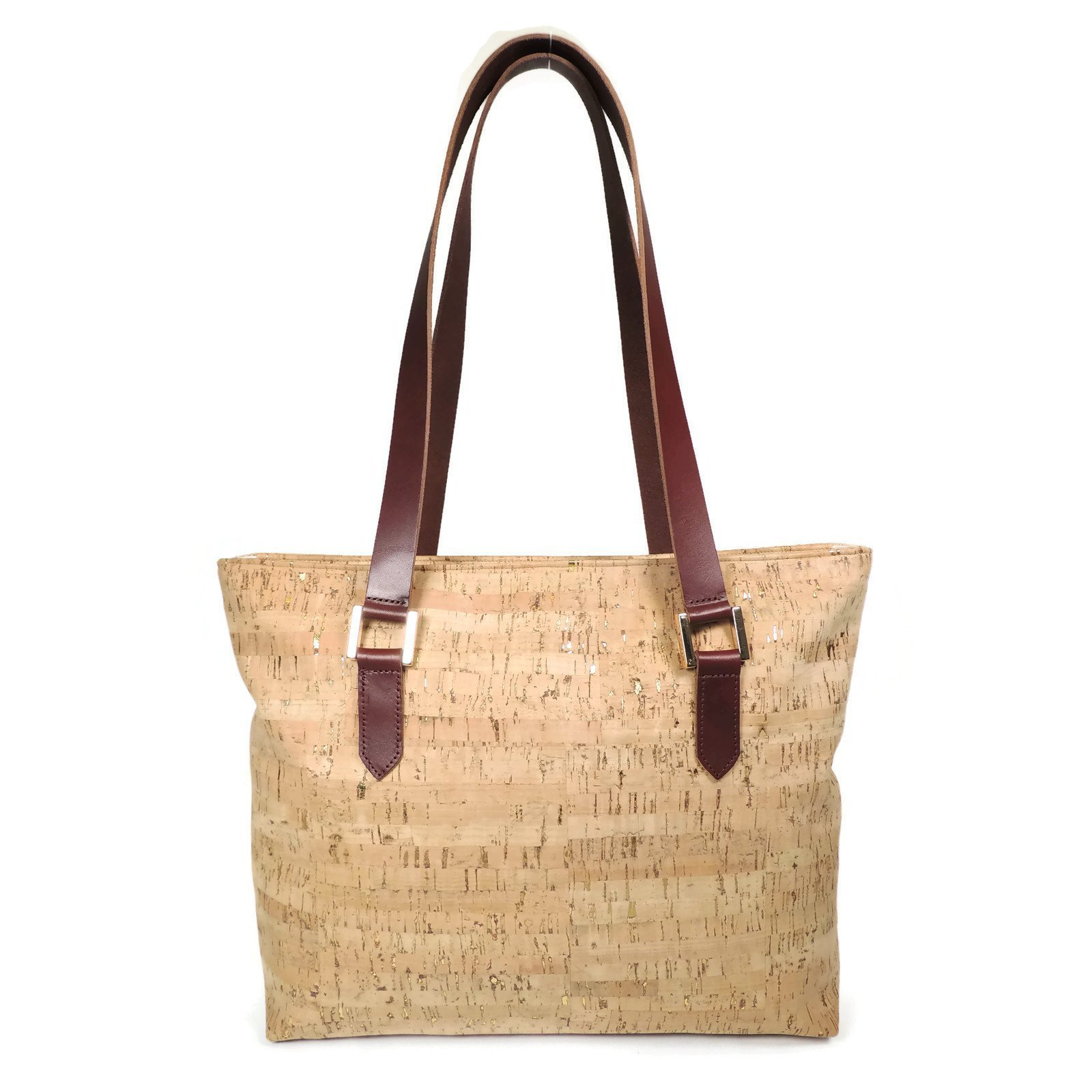 Cork Leather Zip Top Tote Purse with Gold Flecks by Spicer Bags