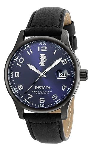 Invicta Reloj Para hombre de cuarzo con esfera azul y correa de cuero negro 21395: Amazon.es: Relojes