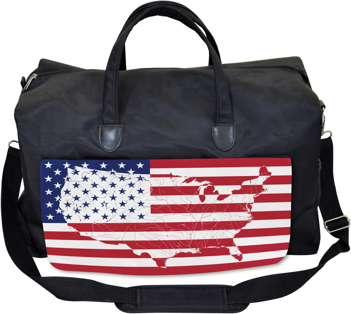 Large Weekender Carry-on Ambesonne American Flag Gym Bag Martial World