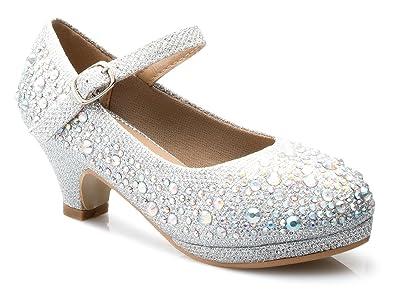 0c5ef60efc Amazon.com | OLIVIA K Girls Kids Kitten Heels Rhinestone Patent Pretty  Sandals Mary Jane Platform Dreess Pumps | Shoes