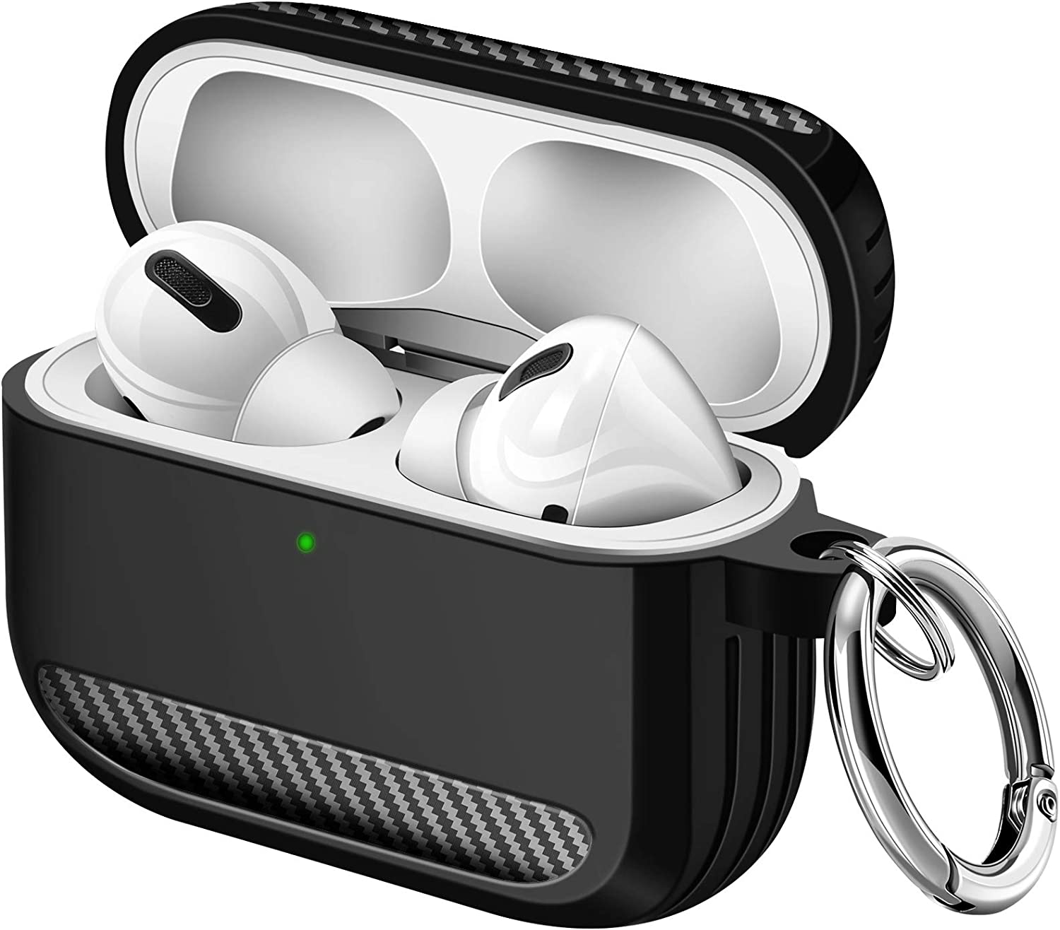 Maxjoy Airpods Pro Case Carbon Fiber Full Body Rugged Protective Case Shockproof Airpod Case Wireless Airpods Case Cover with Carabiner for Apple Airpod Pro Charging Case (Black)