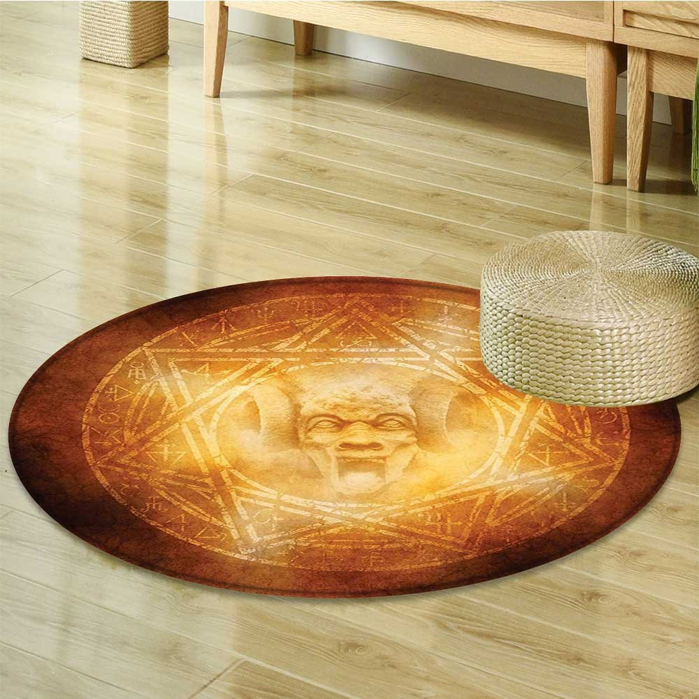 Small round rug Carpet Demon Trap Symbol Logo Ceremony Creepy Ritual Paranormal Design Orange door mat indoors Bathroom Mats Non Slip-Round 51''