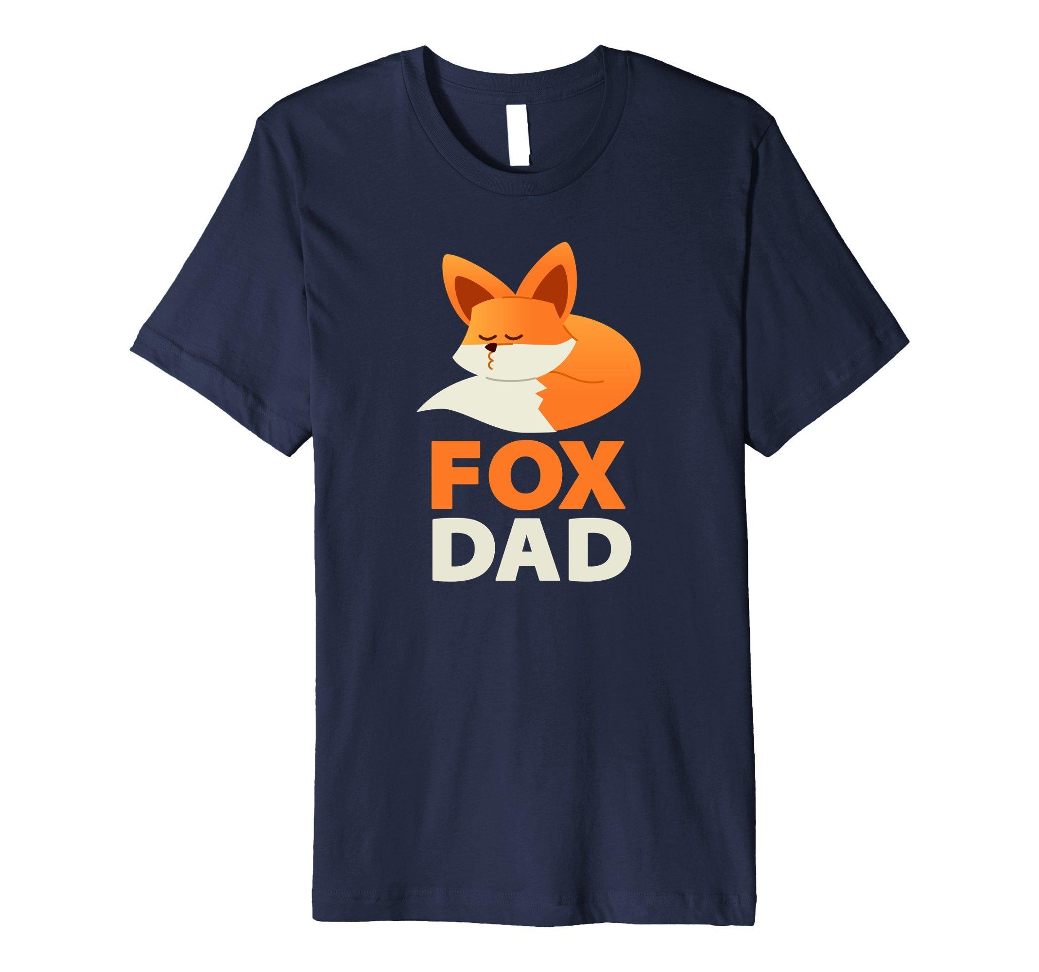 Mens Fox Dad Premium T-shirt Large Navy