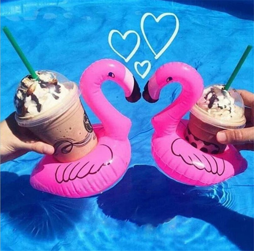 Soporte para vasos hinchable, bonito soporte para bebidas, posavasos flotantes, mini piscina, playa, juguetes, flamencos, palmas, frutas de árbol, donut, ...