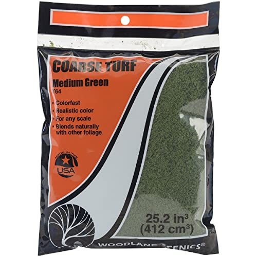 Woodland Scenics Turf 18 to 25.2 Cubic inches-Medium Green - Coarse