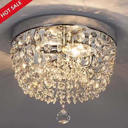 GLANZHAUS Fashion Designed Mini Style 9.84 Chrome Finish Crystal Ceiling light, 2-Light Crystal Chandelier for Living Room Dining Room Bedroom