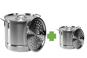 Aluminum Tamale / Steamer Set - 52 quart + 20 quart with steamer insert and lids.