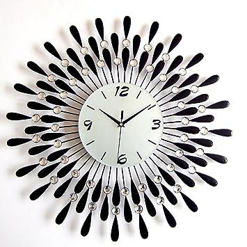 Borde a Europea sencillo y moderno relojes y relojes decorativos reloj Creative Living habitación reloj de pared silencioso: Amazon.es: Hogar